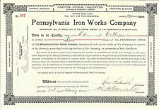 PENNSYLVANIA Iron Works Company Stock Certificate 1908