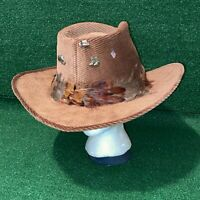 Resistol Self Conforming Ranchman Western Cowboy Hat Corduroy Feather Band 7 1/2