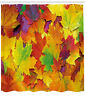 Fall Decor Shower Curtain Colorful Leaves Print for Bathroom 70 Inches Long