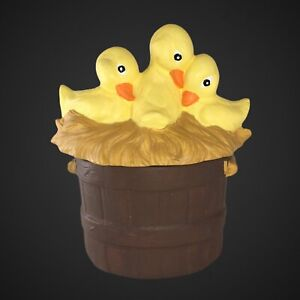 """Cute Baby Duck Trinket Box 6""""T 4.5""""D 3 Ducks Painted Crafted Box"""