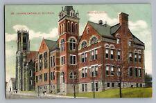 Canton Ohio OH St Johns Catholic Church Antique Postcard 1907-15
