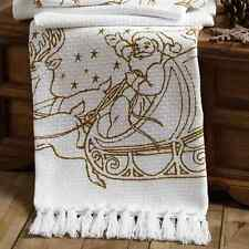 "Santa's Reindeer 100% Cotton Woven Throw 60"" x 50"" Tassels Afghan Throw Blanket"