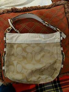 COACH Beige Signature & Leather LARGE ZOE Hobo Shoulder Bag 12674