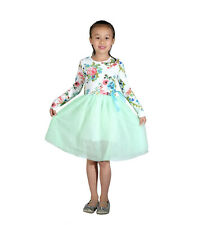Long Sleeves Girls Flower Party Dress 8 Colours 18 Months to 9 Years