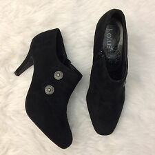 LOTUS Black Ankle Boots UK 7 Stud Button Detail Victorian Goth Rock High Heel