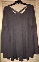 New Jodifl Charcoal Gray Slight Hi-Low Boutique Tunic W/ Criss Cross Back Size L