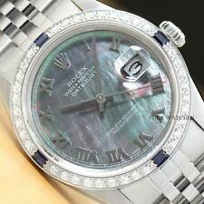 MENS ROLEX DATEJUST TAHITIAN MOTHER OF PEARL 18K GOLD SAPPHIRE DIAMOND WATCH