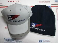 First National Bank Hat and Beanie Combo! Brand New Old Stock! Look!