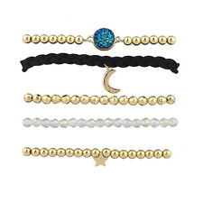 Lux Accessories Celestial Moon and Stars Arm Candy Friendship Bracelet Set 5PC