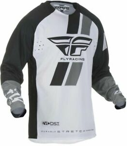 Fly 2019 Evolution DST MX Motocross Off Road Adult Jersey - Black / White