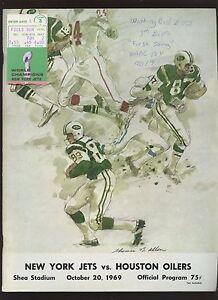 Oct 20 1969 AFL Football Program & Stub Houston Oilers at New York Jets