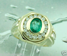 HUGE 4.00 ct MENS MEN'S DIAMOND COLOMBIAN emerald RING 14k made in USA yellow