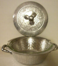 Vtg Glass Pyrex Casserole Bowl Dish Hammered Aluminum Everlast Hand Forged Caddy