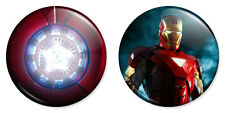 "2 x Iron Man & Arc Reactor Combo 25mm 1"" Pin Badges Avengers Robert Downey"