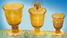 Orthodox Vigil Lamp Standing Leg Cross Carvings Yellow Glass Ikonenampel Öllicht