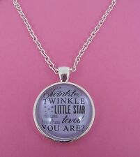 Twinkle Twinkle How Loved You Are Quote Silver Glass Necklace New Gift Bag