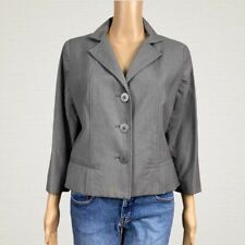 Badgley Mischka Copped Tailored Wool Suit Blazer Jacket SMALL MEDIUM Gray