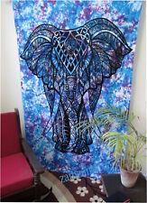 Indian Blue Tie Dye Elephant Wall Decor Tapestry Twin Size Handmade Bedspread