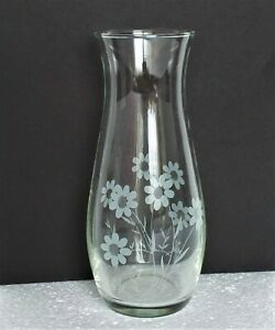 "Vintage Vase Action Industries NEW Clear Hand Cut Floral Designs 6 3/4"" H"