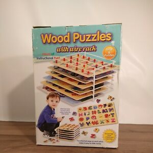 Wooden Peg Puzzles - Shaped Pieces with Wire Rack for Toddlers - Set of 6
