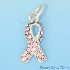 BREAST CANCER AWARENESS RIBBON .925 Sterling Silver Charm PINK SWAROVSKI CRYSTAL