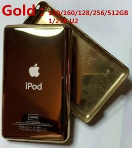 Gold Back Cover for iPod classic&Video 60/80/120/160/128/256/512GB 1/2TB U2