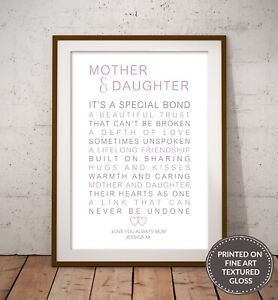 MOTHER AND DAUGHTER QUALITY TYPOGRAPHY POEM PRINT. MOTHER'S DAY MUM BIRTHDAY