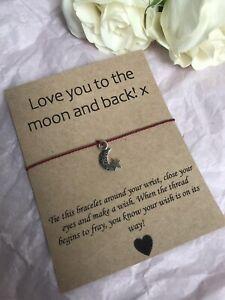 💜 Love You Moon friendship Wish bracelet/anklet Missing You Gift Present💜