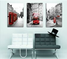 3 pcs Wall Art London Bus Phone Painting Print On Canvas Decoration Vintage Oil