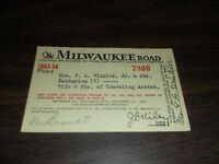 1953-1954 MILWAUKEE ROAD MILW EMPLOYEE PASS #7900