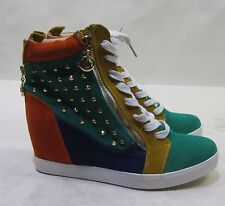 """green/multi spikes  3""""hidden wedge heel  lace up  ankle boots Size  8.5"""