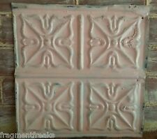 "12"" x 12"" Antique Tin Ceiling Tile *See Our Salvage Videos Pink Q12"