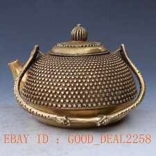 Chinese Brass Handwork Carved Pattern teapot w Qing Dynasty Mark gd5215