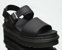 Dr. Martens Voss Black Hydro Leather Sandals Women's Casual Footwear Shoes