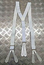 Genuine Military Issue Officers Mess Dress White Braces with Leather Button Tabs