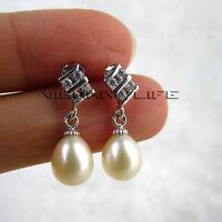 7.0*8.0mm White Freshwater Pearl Dangle Earrings D18S U