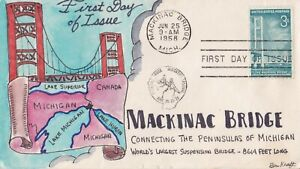 SCOTT 1009 MACKINAC BRIDGE BEN KRAFT HAND PAINTED FIRST DAY COVER FDC 1958