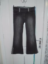 Ladies NEXT BOOT CUT Size 10 P Black Embellished Buckle Strap & Hem Jeans ABBA