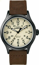 Timex T49963, Men's Expedition Scout Brown Leather Watch, Date, Indiglo