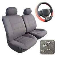 Canvas Seat Cover Front Set, Charcoal Waterproof Heavy Duty Universal Fit