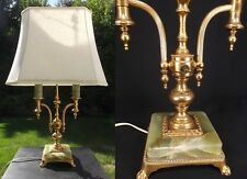 ANTIQUE double candle lamp table vintage BRASS SLAG shade CLAW FOOT jadeite