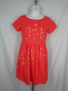 Eshakti Floral Dress Size Large 12 Embroidered Orange Gold Short Sleeve