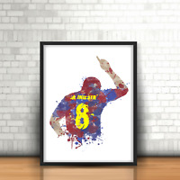 Andres Iniesta - Barcelona Inspired Football Art Print Design FCB Barca Number 8