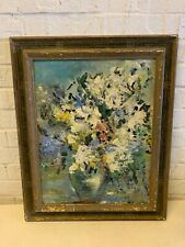 Vintage Multicolored Acrylic Floral Painting on Board Framed