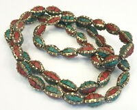 Ethnic Tibetan Nepalese Handmade Brass 50 Masala Beads Turquoise And Coral