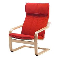 Ikea Poang Chair Birch / Ransta Red Cushion New
