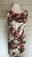 KEW 159 Pink Floral Abstract Pencil Wiggle Bodycon Dress 12 Wedding Occasion