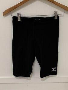 Boys Speedo Endurance Swim Trunks Suit Sz 28 Solid Black GUC