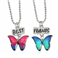 2PCS/Set Baby Jewelry Rhinestone Best Friend Necklace Stainless Steel Butterfly