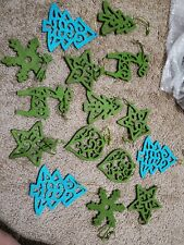 LOT Lime  Blue Felt Christmas Ornaments